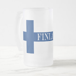 Flag of Finland Blue Cross Suomi Frosted Glass Beer Mug