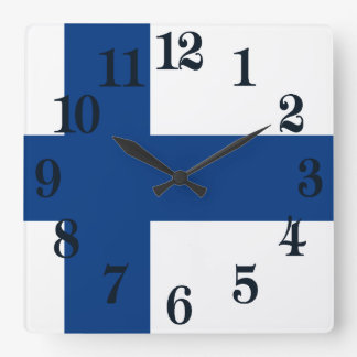 Flag of Finland Blue Cross Suomi Square Wall Clock