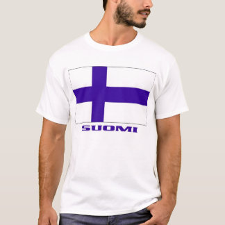 """Flag of Finland + """"Suomi"""" Finnish-American T-shirt"""