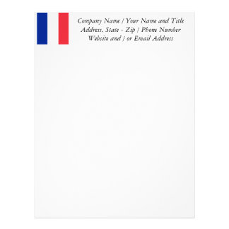 Flag of France, Tricolour National Flag Personalized Letterhead