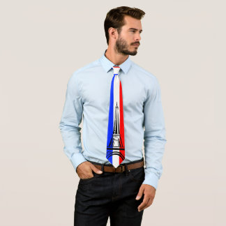Flag of France with Eiffel Tower Tie