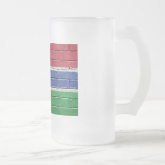Flag of Gambia 16 Oz Frosted Glass Beer Mug