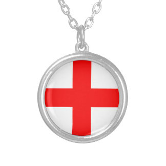 Flag Of Georgia Silver Plated Necklace
