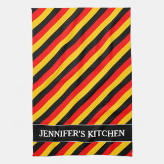 Flag of Germany Inspired Colored Stripes Pattern Kitchen Towel
