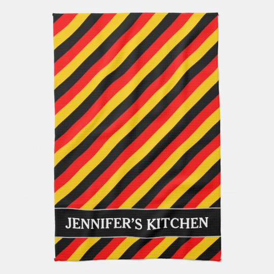 Flag of Germany Inspired Coloured Stripes Pattern Kitchen Towel