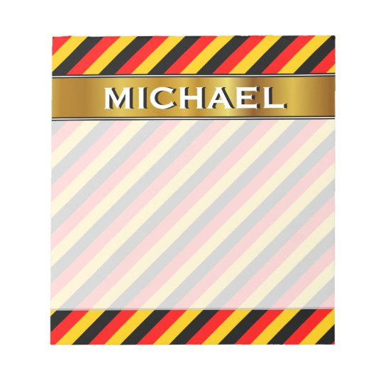 Flag of Germany Inspired Coloured Stripes Pattern Notepad