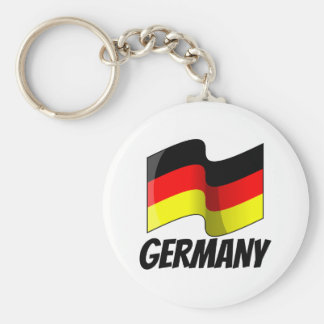 Flag of Germany, Labeled Basic Round Button Keychain