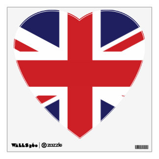 flag of great britain heart wall sticker