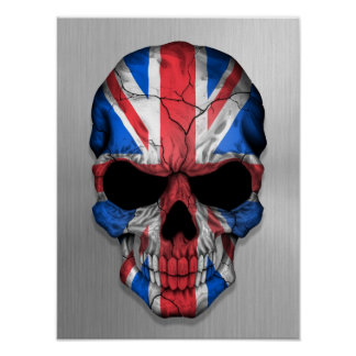 Flag of Great Britain on a Steel Skull Graphic Poster
