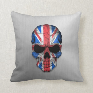 Flag of Great Britain on a Steel Skull Graphic Throw Pillow