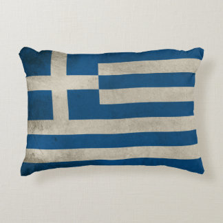 Flag of Greece Grunge Decorative Pillow