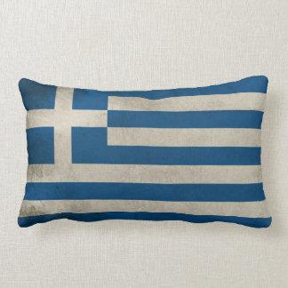 Flag of Greece Grunge Lumbar Pillow