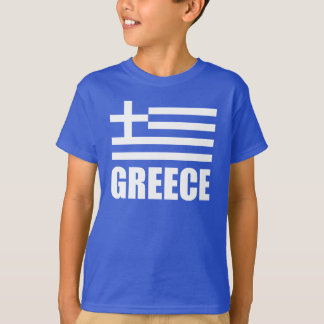 Flag Of Greece White Text Blue T Shirts