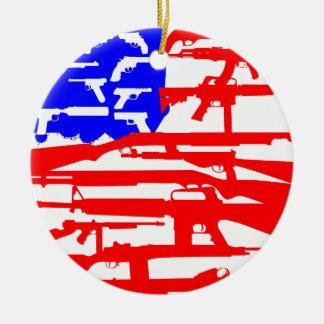 Flag Of Guns 2nd Amendment Round Ceramic Ornament
