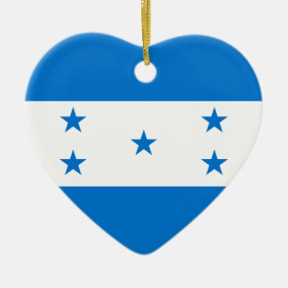 Flag_of_Honduras Ceramic Heart Ornament