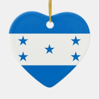 Flag of Honduras Ceramic Heart Ornament