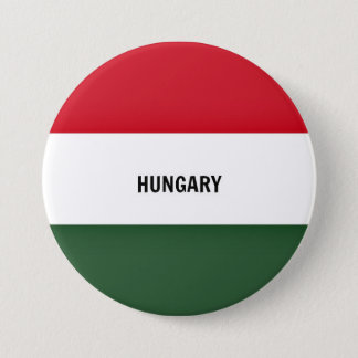 Flag of Hungary, labeled 3 Inch Round Button