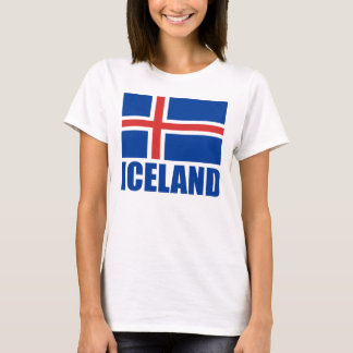Flag Of Iceland Blue Text White T-Shirt