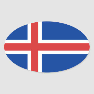 Flag of Iceland Oval Sitcker Oval Sticker