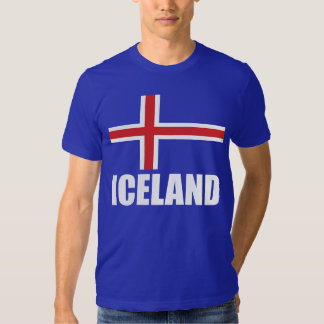 Flag Of Iceland White Text Blue T Shirts