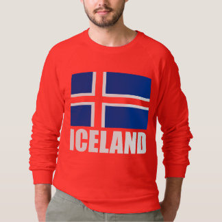 Flag Of Iceland White Text On Red Sweatshirt