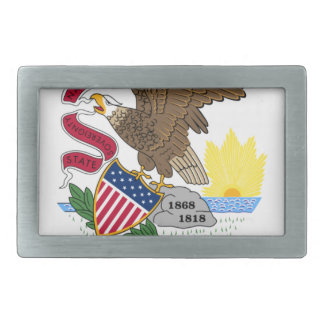 Flag Of Illinois Rectangular Belt Buckle