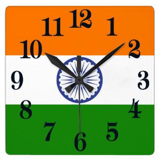 Flag of India Ashoka Chakra Square Wall Clock