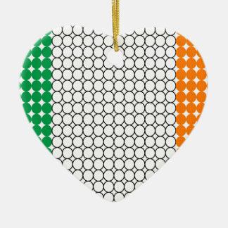 Flag of Ireland Ceramic Heart Ornament