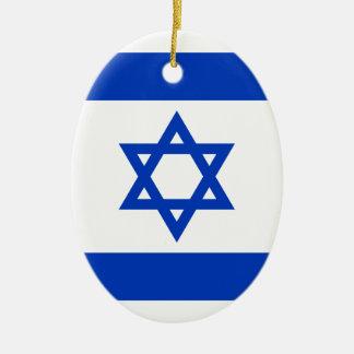 Flag of Israel - דגל ישראל - ישראלדיקע פאן Ceramic Oval Ornament