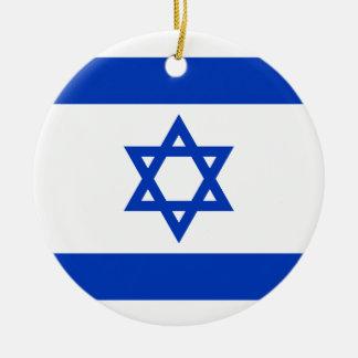 Flag of Israel - דגל ישראל - ישראלדיקע פאן Round Ceramic Ornament