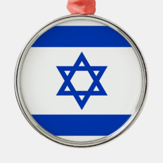 Flag of Israel - דגל ישראל - ישראלדיקע פאן Silver-Colored Round Ornament