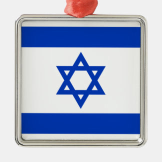 Flag of Israel - דגל ישראל - ישראלדיקע פאן Silver-Colored Square Ornament