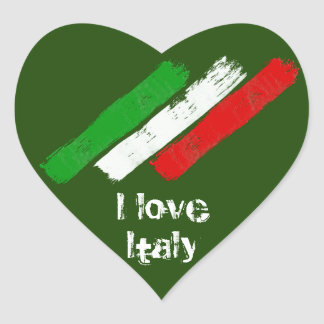 Flag of Italy. I love Italy. Heart Sticker