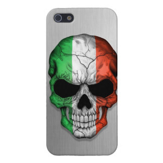 Flag of Italy on a Steel Skull Graphic iPhone 5 Cases