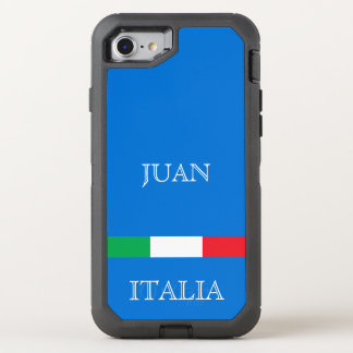 Flag of Italy on azure blue ocean add name OtterBox Defender iPhone 8/7 Case