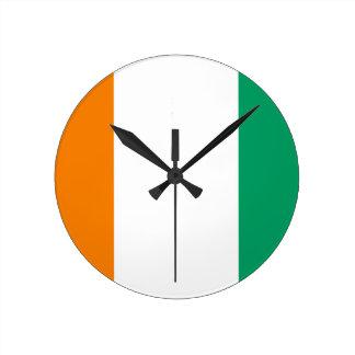 Flag of Ivory Coast - Drapeau de la Côte d'Ivoire Round Clock