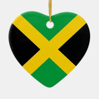 Flag of Jamaica Ceramic Heart Ornament