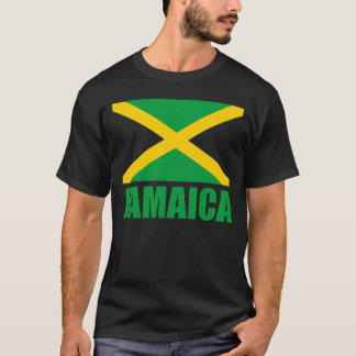 Flag Of Jamaica Green Text Black T-Shirt