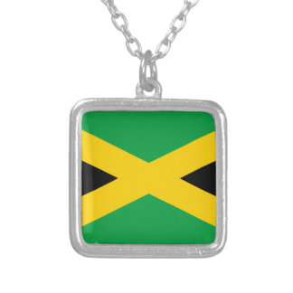 Flag of Jamaica - Jamaican Flag Silver Plated Necklace