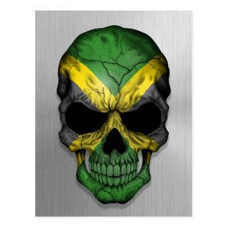 Flag of Jamaica on a Steel Skull Graphic Postcard