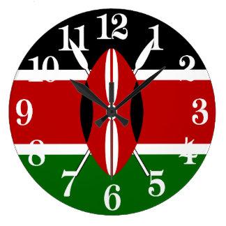 Flag of Kenya Large Clock