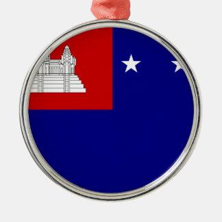 Flag of Khmer Republic (សាធារណរដ្ឋខ្មែរ) Silver-Colored Round Ornament