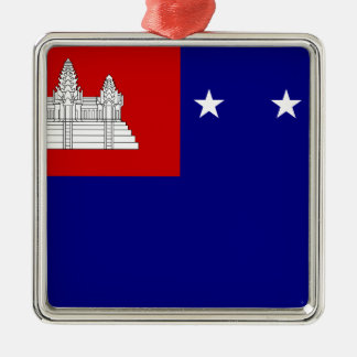 Flag of Khmer Republic (សាធារណរដ្ឋខ្មែរ) Silver-Colored Square Ornament