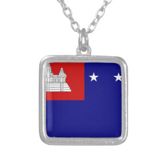 Flag of Khmer Republic (សាធារណរដ្ឋខ្មែរ) Silver Plated Necklace