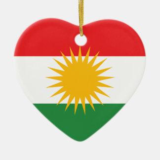 Flag of Kurdistan (Alay Kurdistan or Alaya Rengîn) Ceramic Heart Ornament