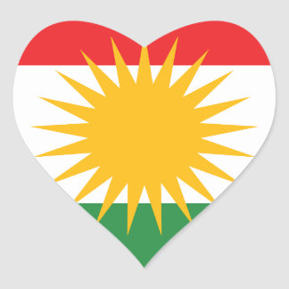 Flag of Kurdistan; Kurd; Kurdish Heart Sticker