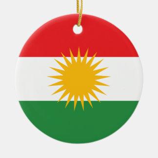 Flag of Kurdistan; Kurd; Kurdish Round Ceramic Ornament