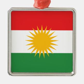 Flag of Kurdistan; Kurd; Kurdish Silver-Colored Square Ornament