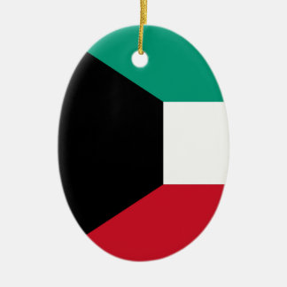 Flag of Kuwait Ceramic Oval Ornament