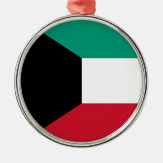 Flag of Kuwait Silver-Colored Round Ornament
